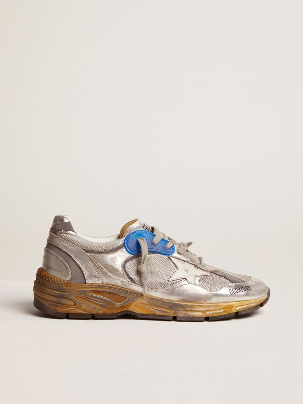 Golden Goose - Sneaker Dad-Star color argento e finiture distressed in