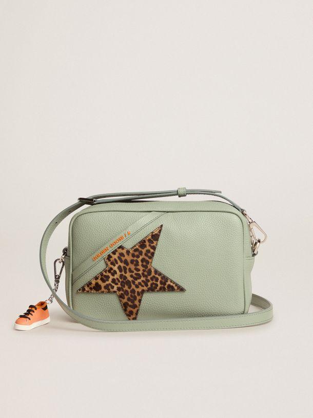 Golden Goose - Borsa Star Bag salvia con stella in cavallino leopardato in