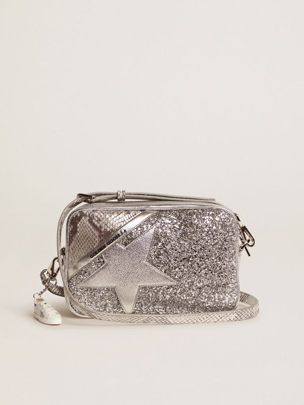Star Bag made of silver snake-print leather and glitter