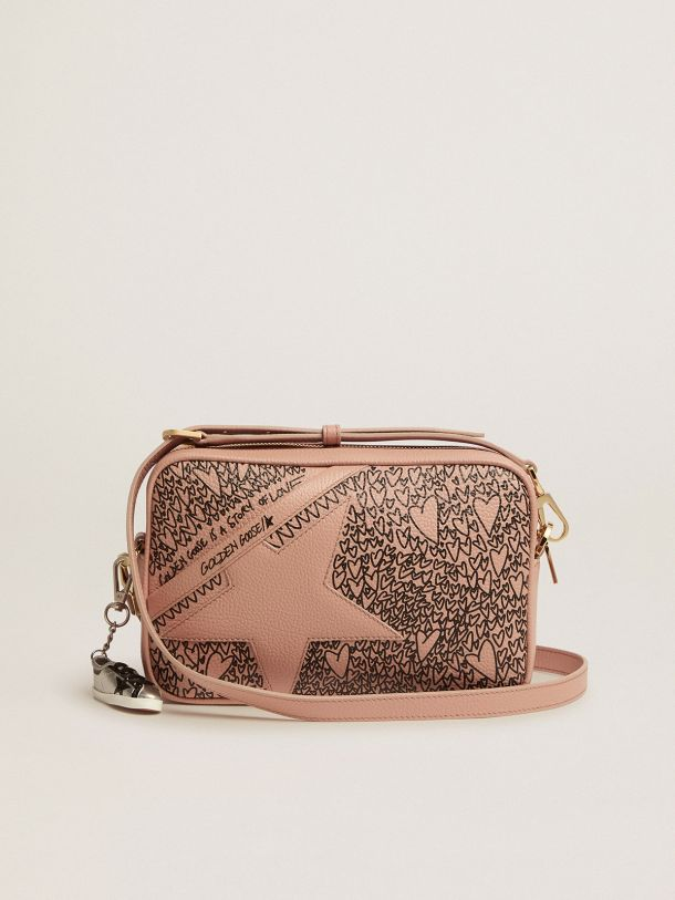 Golden Goose - Nude Star Bag made of hammered leather with love-themed designs in