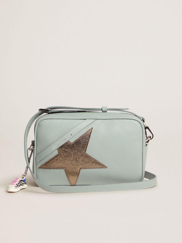 Golden Goose - Borsa Star Bag acquamarina in pelle martellata con stella dark silver in