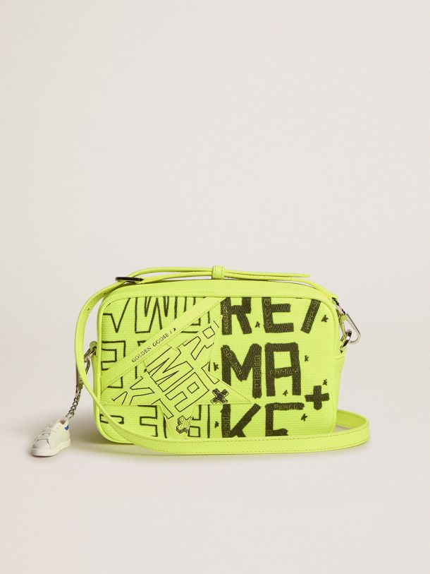 Golden Goose - Fluorescent yellow Star Bag in canvas with Sneakers Maker print in