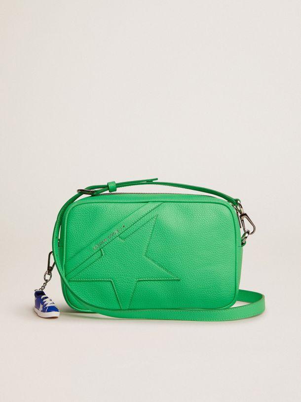 Golden Goose - Borsa Star Bag in pelle martellata color verde fluo e stella ton sur ton in