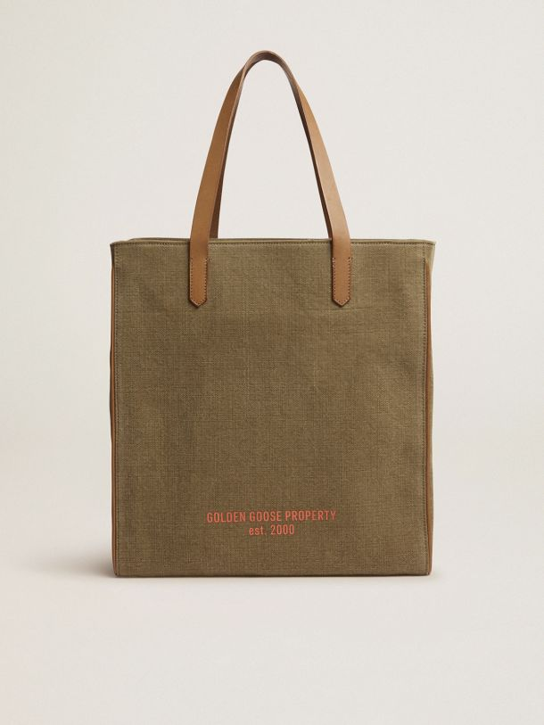 Golden Goose - North-South California Bag in military-green canvas in