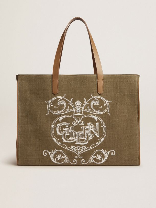 Golden Goose - California Bag in military-green East-West canvas with screen print in