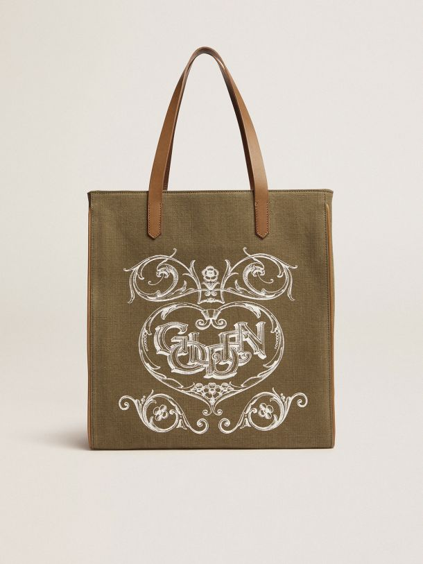 Golden Goose - California Bag in military-green North-South canvas with screen print in