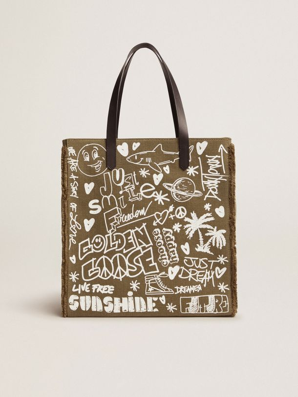 Golden Goose - North-South California Bag in military green canvas with graffiti in