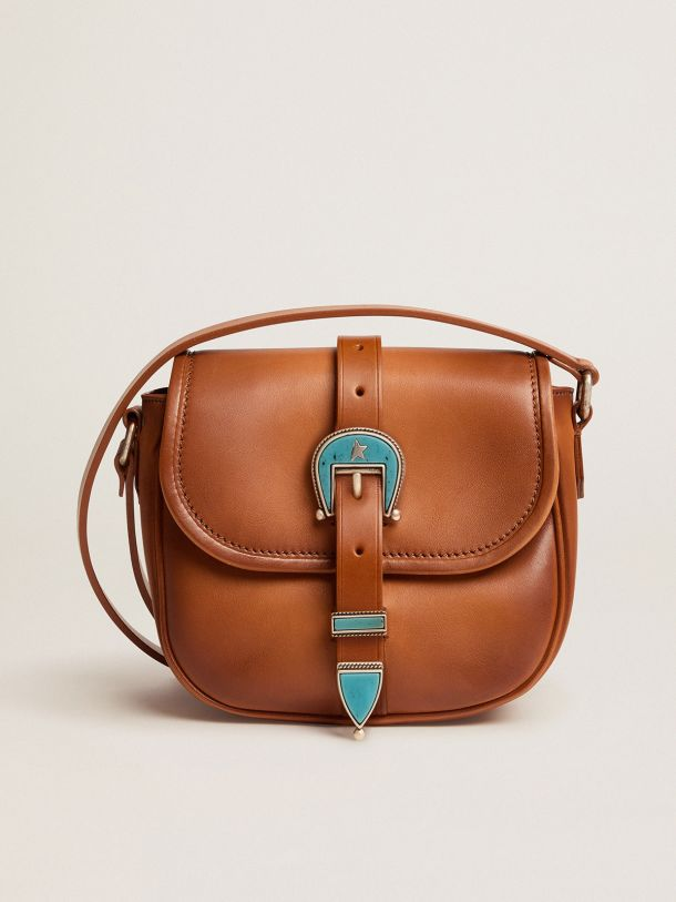 Golden Goose - Small Rodeo Bag in pale tan leather with blue buckle   in