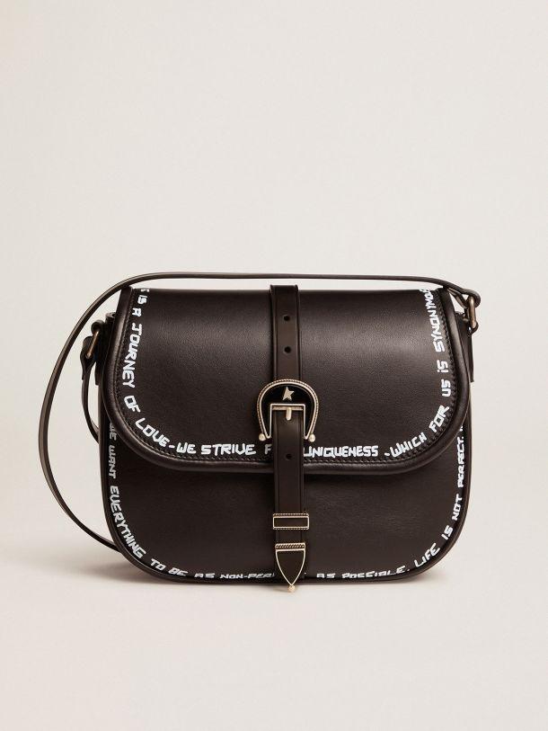 Bolso Rodeo Bag Medium negro de piel con estampado serigrafiado