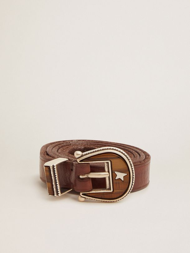 Golden Goose - Cintura Rodeo marrone scuro con fibbia tono su tono in