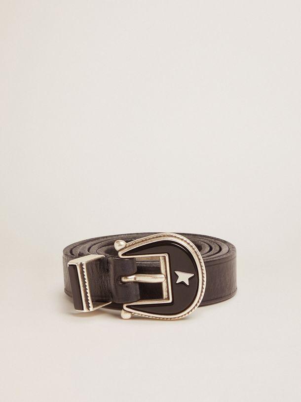Golden Goose - Cintura Rodeo nera in pelle con fibbia tono su tono in