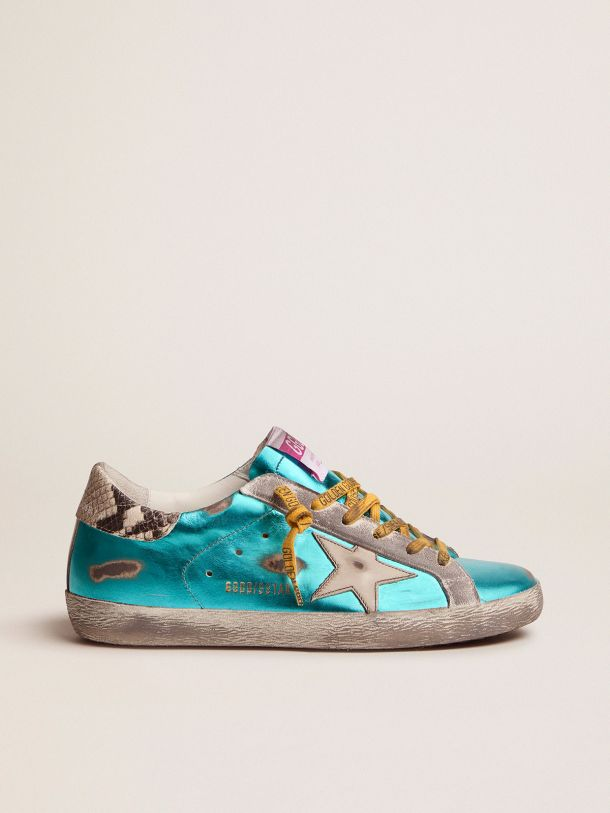 Golden Goose - Turquoise green laminated Super-Star LTD sneakers with snake-print heel tab in