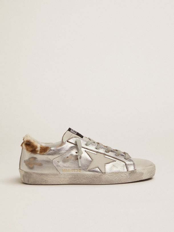 Golden Goose - Laminated Super-Star sneakers with animal-print heel tab in