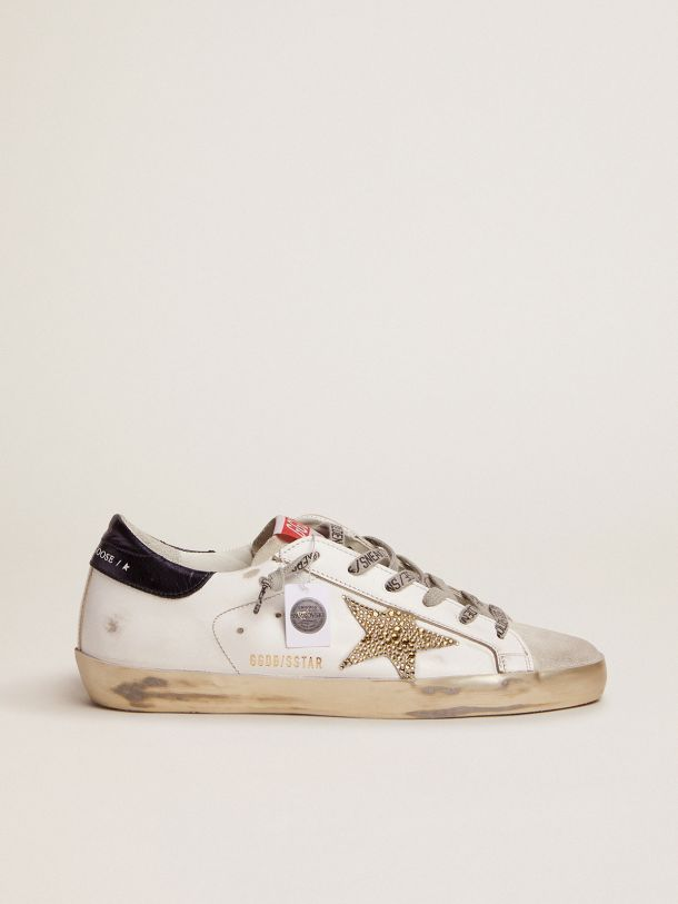 Golden Goose - Super-Star LTD sneakers with navy-blue laminated leather heel tab and Swarovski crystal star in