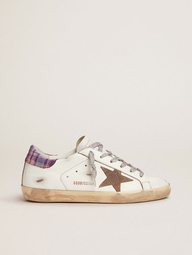 Golden Goose - Super-Star sneakers with colored jacquard heel tab and snake-print suede star in