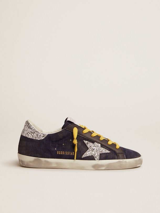 Golden Goose - Super-Star sneakers in dark blue suede with checkered pattern and silver glitter details in