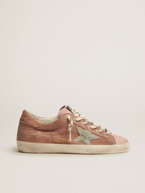 Golden Goose - Super-Star sneakers in peach-pink suede with corduroy print and bouclé star in