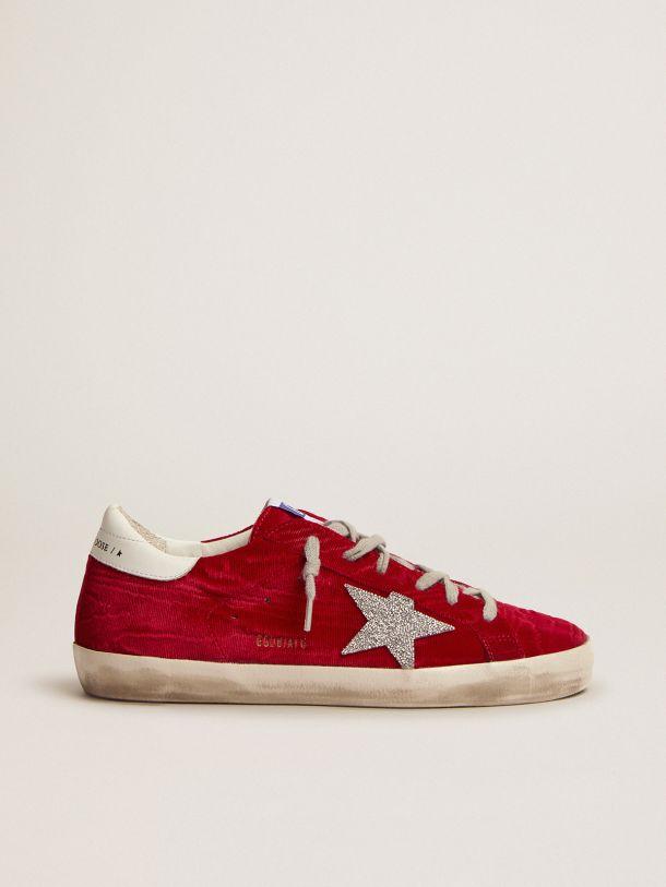 Golden Goose - Super-Star LTD sneakers in red moiré velvet with Swarovski crystal star in