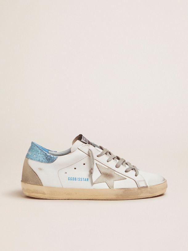 Golden Goose - Sneakers Super-Star LTD bianche con talloncino blu laminato in