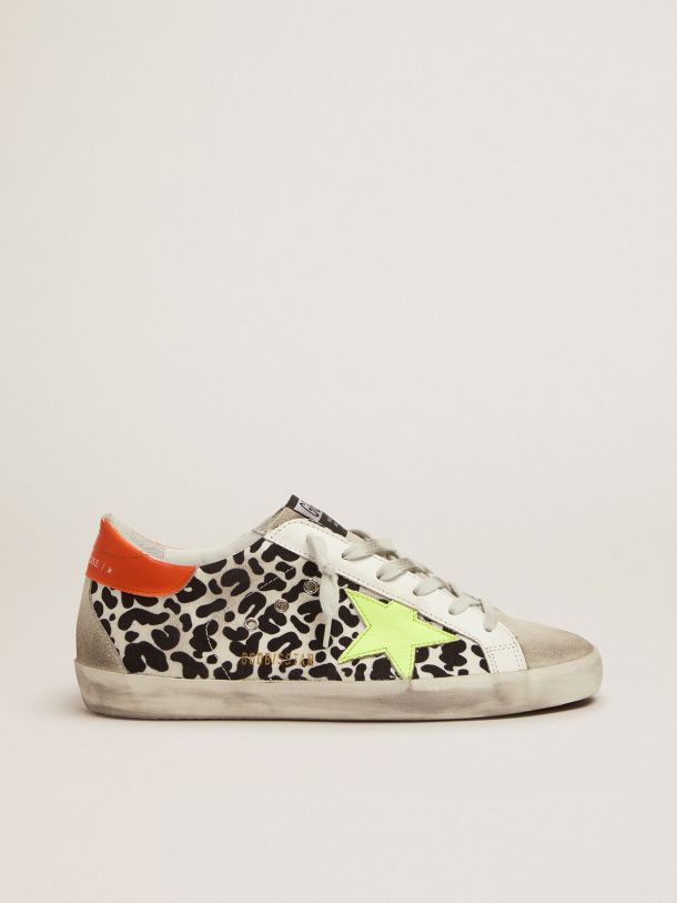 Golden Goose - Leopard-print and neon Super-Star sneakers in