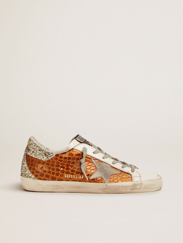 Golden Goose - Super-Star sneakers in brown crocodile-print leather with light green glitter in