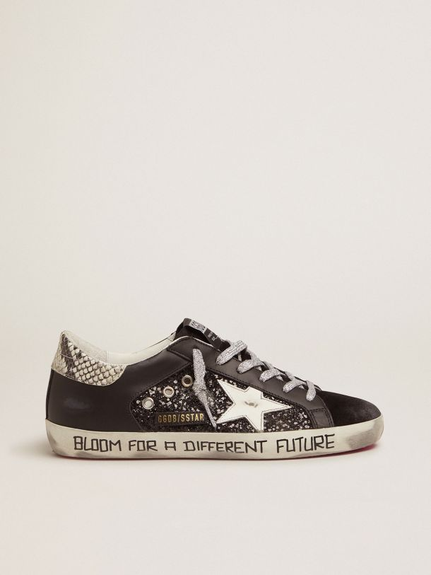 Golden Goose - Super-Star sneakers with glitter and handwritten lettering in