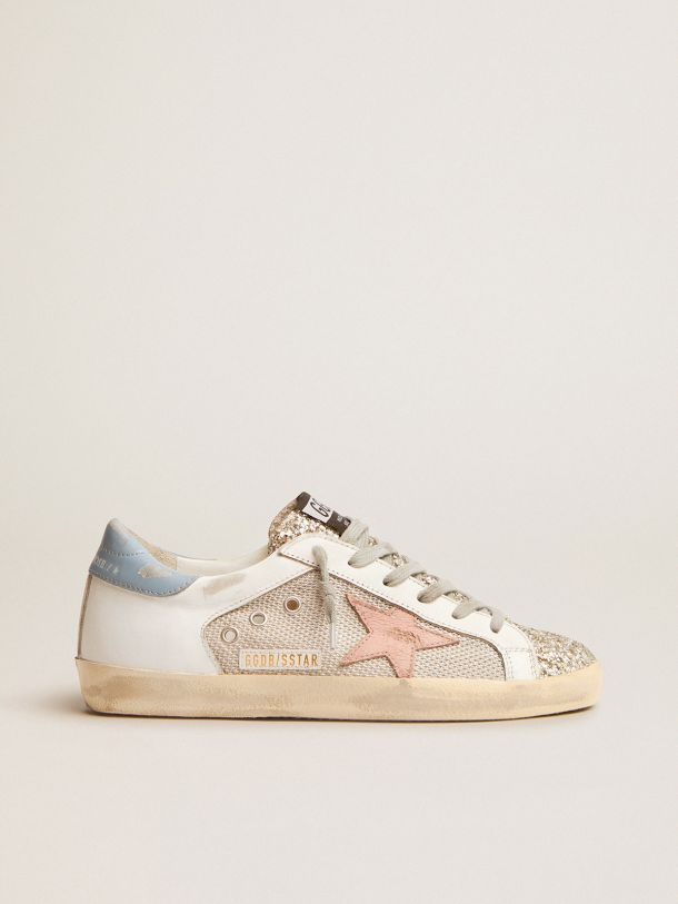 Golden Goose - Super-Star LTD sneakers in white leather with mesh insert and silver glitter tongue in