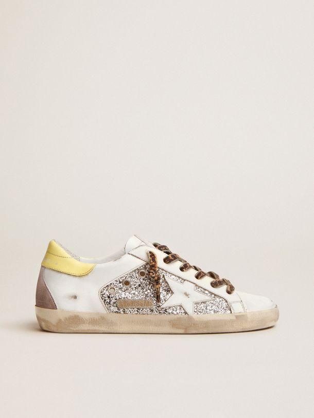 Golden Goose - Sneaker Super-Star LTD con in pelle e glitter con talloncino colorato in