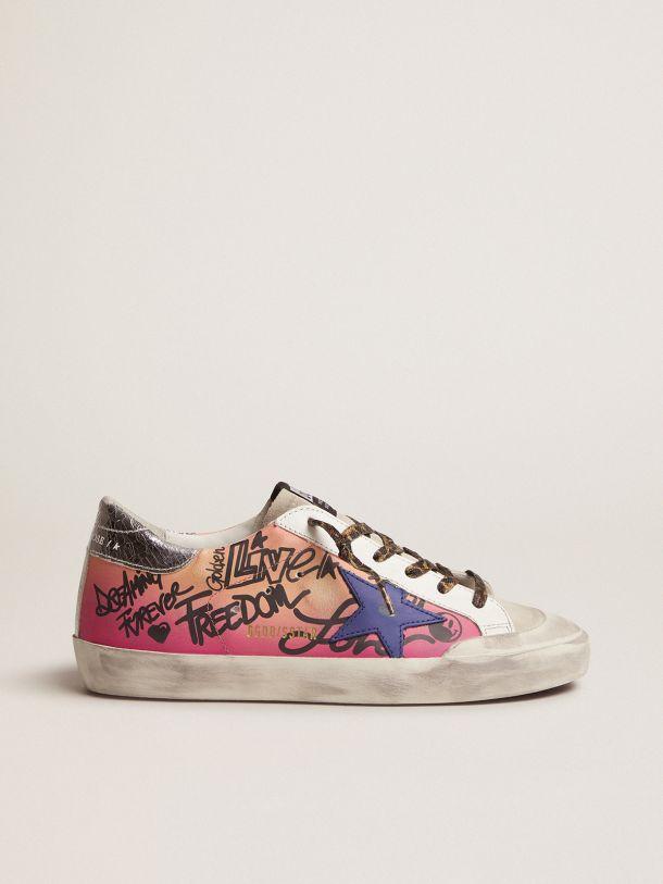 Golden Goose - Sneakers Super-Star rose dégradé avec contrefort en cuir craquelé argenté métallisé in