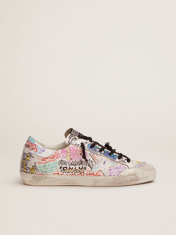 Golden Goose - Super-Star sneakers in white leather with multicolored graffiti print in