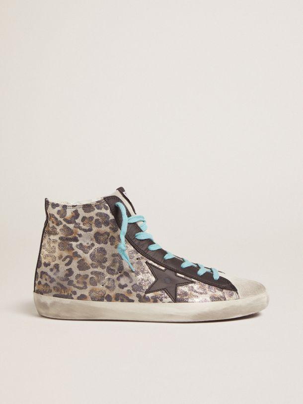 Golden Goose - Sneakers Francy à imprimé léopard et lacets bleus in