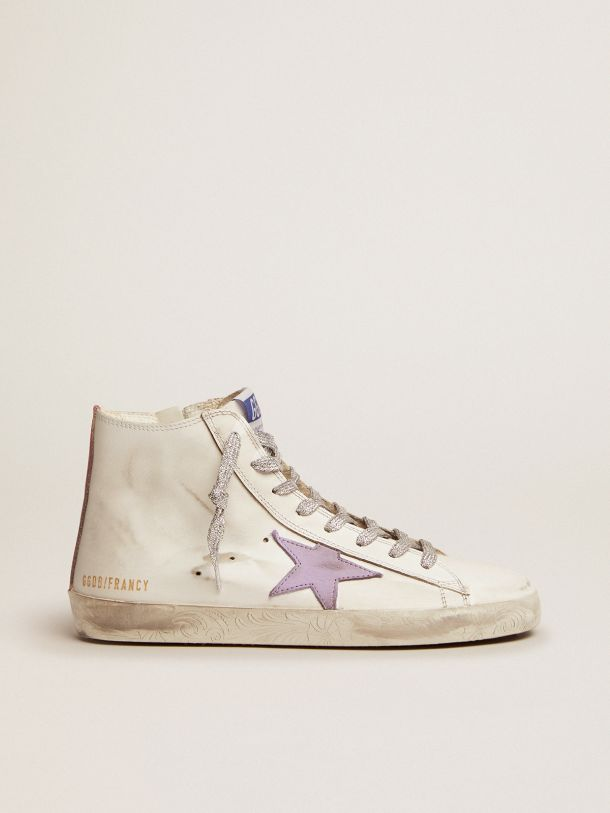 Golden Goose - Francy sneakers with foxing with floral decorations and lavender-colored star in