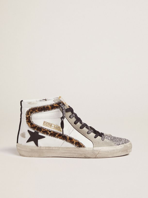 Zapatillas deportivas Slide con purpurina y detalle de «coma» con estampado leopardo