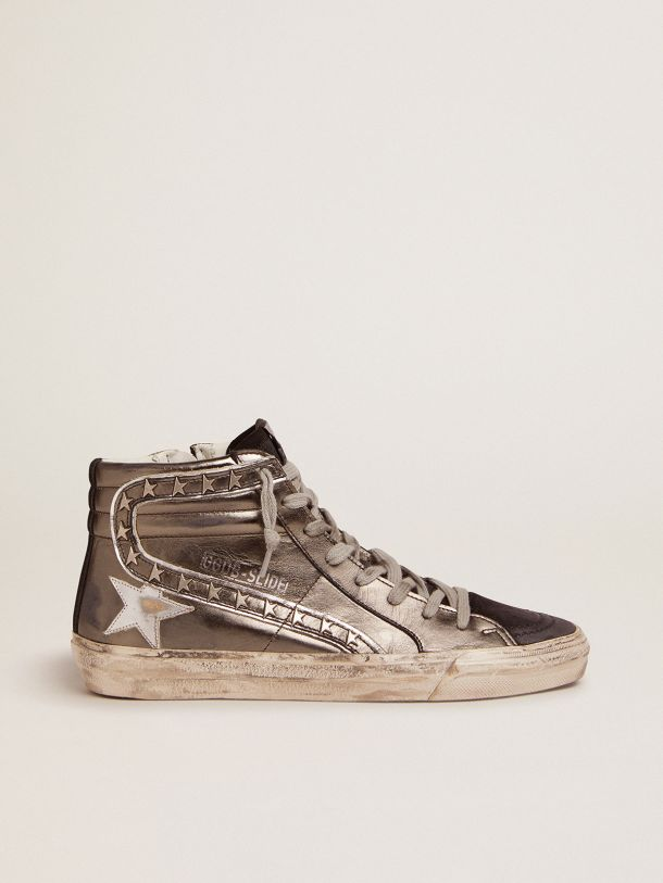 Slide sneakers with silver laminated leather upper and star-shaped studs