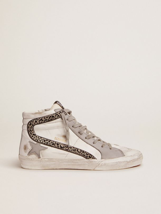 Golden Goose - Slide sneakers with white and gray leather upper and leopard-print suede flash in
