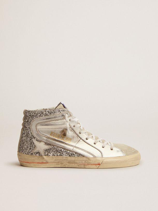 Sneaker Slide con tomaia in pelle laminata e glitter argento