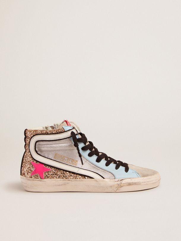 Golden Goose - Sneakers Slide LTD con glitter e stella fucsia in