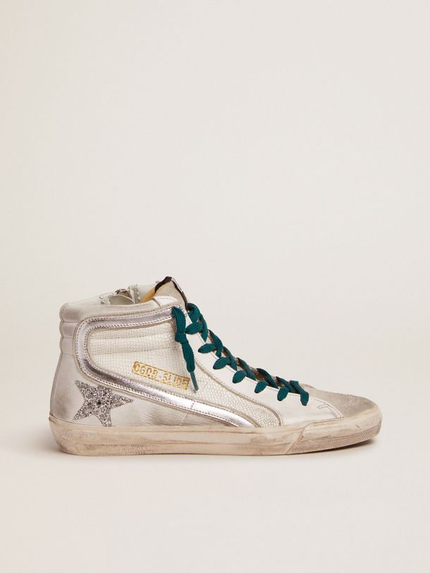 Golden Goose - Slide sneakers with snake-print leather upper and silver glitter star in