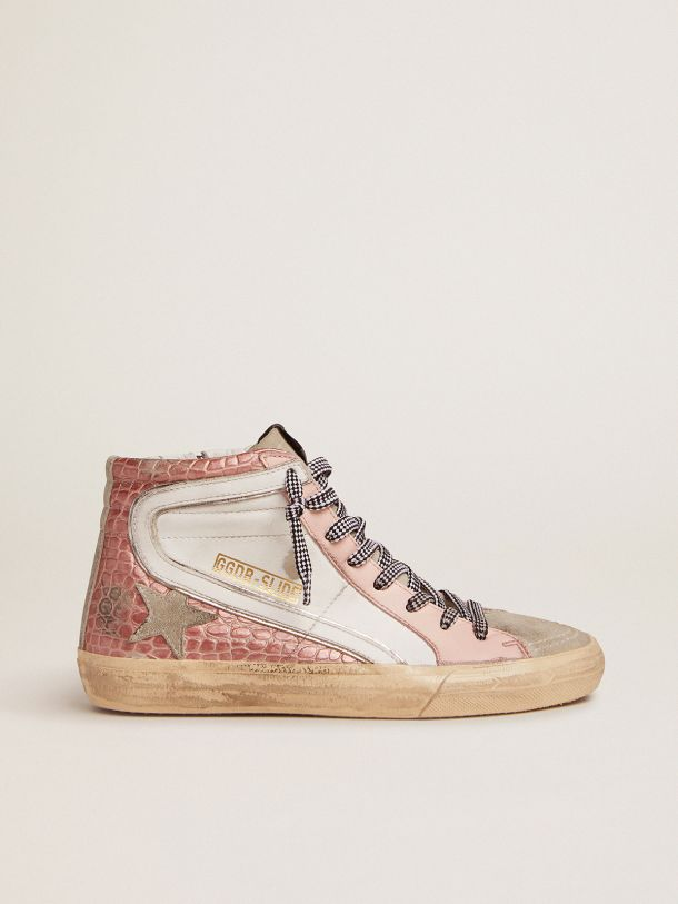 Golden Goose - Slide sneakers with white leather and pink crocodile-print leather upper   in