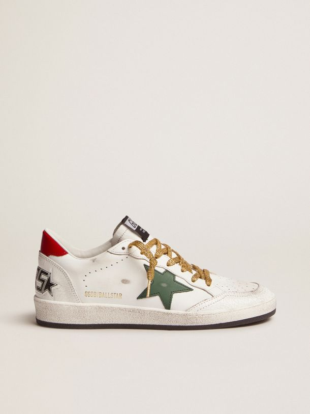 Golden Goose - Ball Star sneakers with green star and red heel tab in
