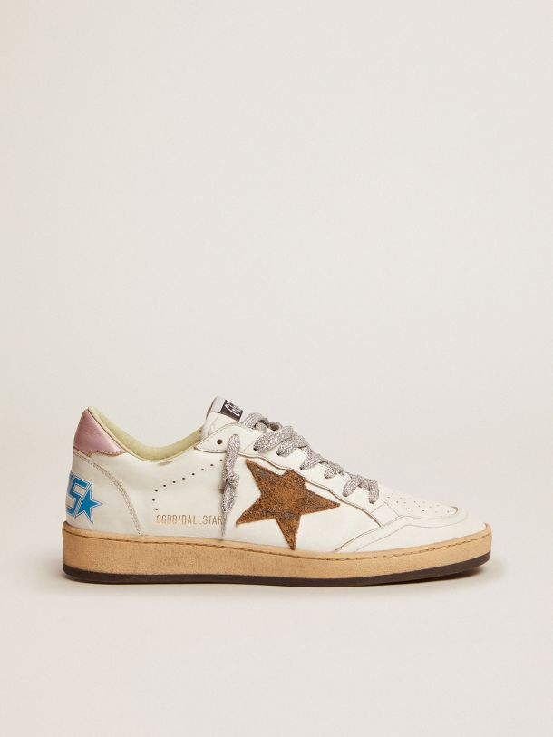 Golden Goose - Ball Star sneakers with leopard-print star and pink laminated leather heel tab in