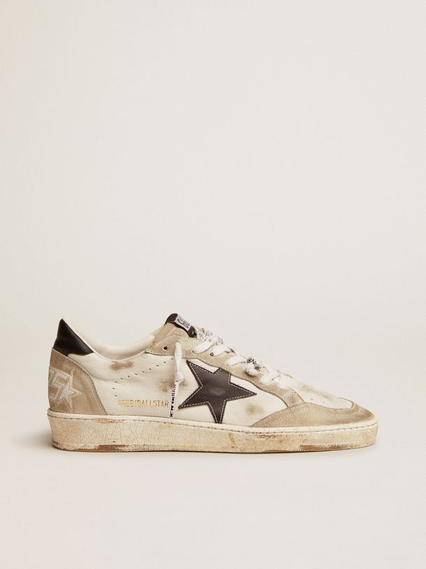 Golden Goose - Ball Star sneakers in white leather and ice-gray suede with black leather detail in