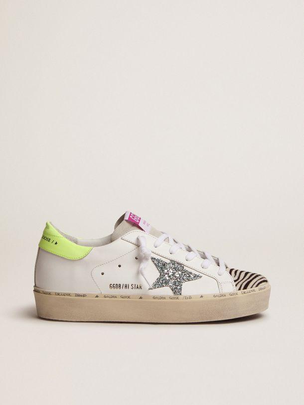 Golden Goose - Sneakers Hi Star con stella in glitter azzurro e inserto zebrato in cavallino in