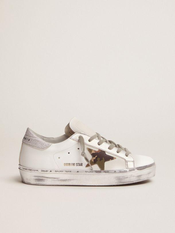 Golden Goose - Sneakers Hi-Star avec étoile camouflage et contrefort pailleté in