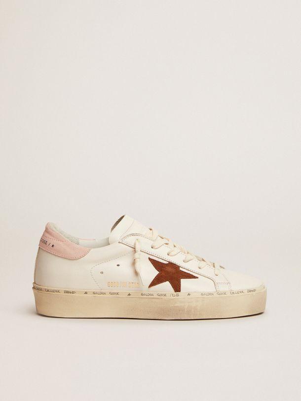 Golden Goose - Hi Star LTD sneakers with brown suede star and pink suede heel tab in
