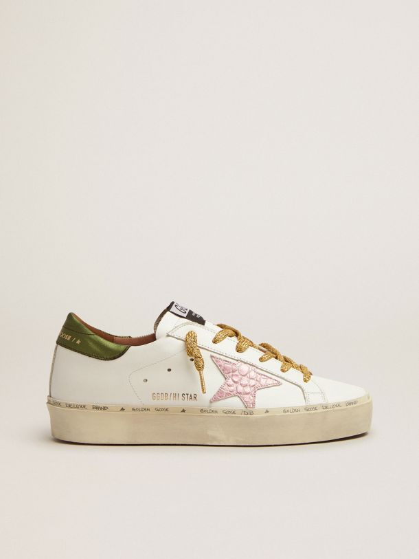 Golden Goose - Hi Star sneakers with green laminated leather heel tab and pink crocodile-print leather star in
