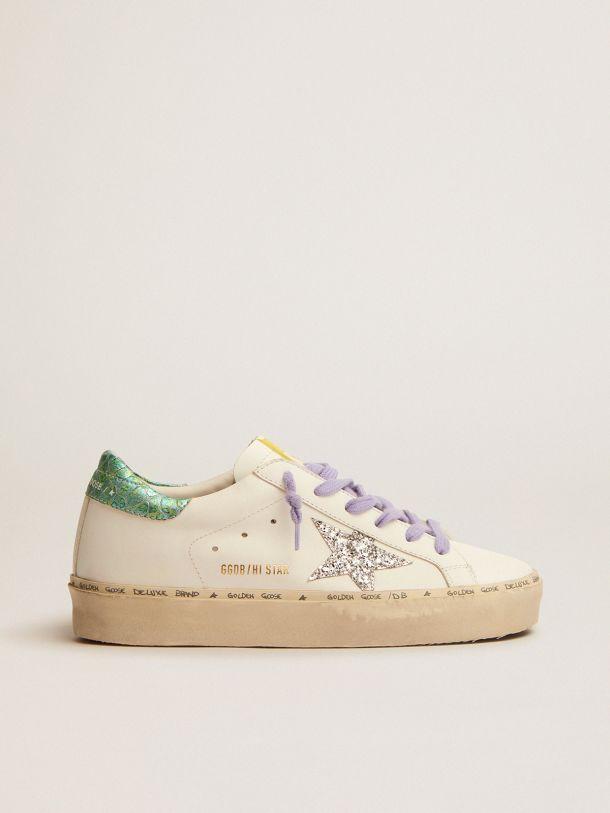 Golden Goose - Sneakers Hi Star LTD avec étoile pailletée argentée et contrefort en cuir aigue-marine à imprimé serpent in