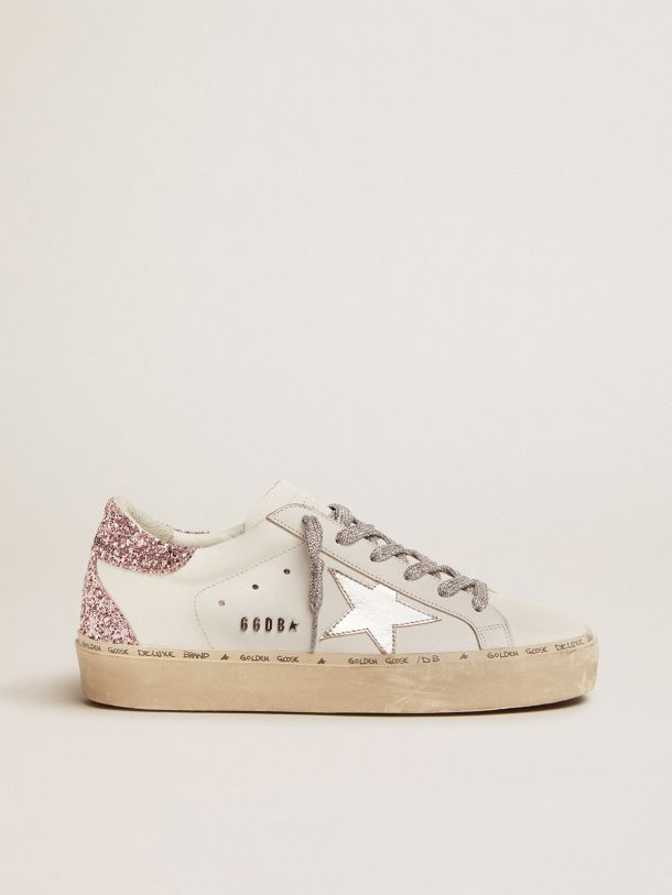 Golden Goose - Hi Star sneakers with silver laminated leather star and quartz-pink glitter heel tab in