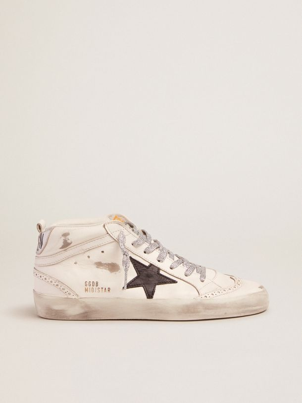 Golden Goose - Mid-Star sneakers with laminated heel tab and glittery laces in