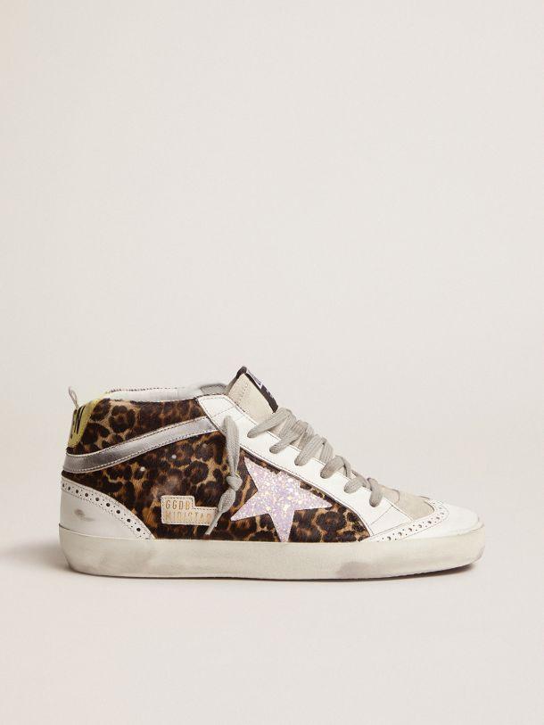 Mid-Star sneakers LTD in leopard-print pony skin with glittery star